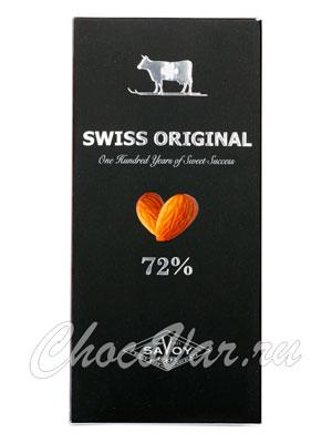 Шоколад Swiss Original. Горький  с миндалем 100 гр