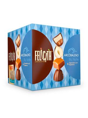 Конфеты Русский шоколад Arcobaleno Blu Notte Ореховая нуга и карамель 205 гр